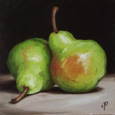 """Pair of Pears"" - Original Fine Art for Sale - © Jane Palmer"