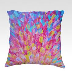 SPLASH REVISITED  Lovely 18 x 18 Decorative Fine Art Throw Pillow Home Decor Colorful Fine Art Toss Cushion, Modern Bedroom Bedding Dorm Room Living Room Style Accessories  by EbiEmporium on Etsy, $75.00