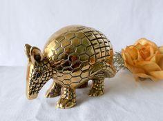 Mid Century Brass Armadillo Etched Brass Animal by GSaleHunter