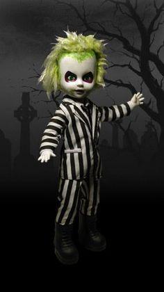 Beetlejuice - Living Dead Dolls - i have him♥ Reborn Dolls, Blythe Dolls, Reborn Babies, Horror Crafts, Horror Merch, Creepy Baby Dolls, Halloween Doll, Halloween Crafts, Halloween Decorations