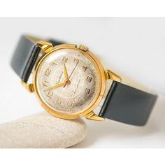 Men's wristwatch gold plated, mid century Soviet watch Kirovskie, rare... (€155) via Polyvore featuring men's fashion, men's jewelry, men's watches, mens gold plated watches, mens leather strap watches and mens watches jewelry