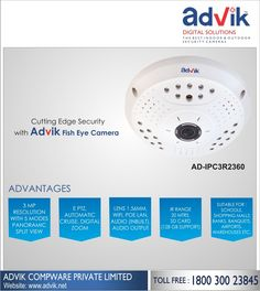 Cutting Edge Security with Advik #FishEye #Camera!!! Enjoy cutting edge security with E-PTZ in Advik's Fish Eye #Camera. Now, you can rotate the #camera to keep a clear and alert watch on your valuables. Features like automatic cruise, #digital zoom and lens with 3 MP #resolution provide better image and #video quality, SD card option, and wall to wall viewing capability. It is the ultimate security solution to cover maximum areas in a room with a single camera making it best choice for…