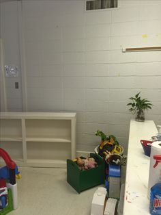 A preschool classroom Before the new cabinets and shelving are installed. There is very little space for the teachers to store things out of reach of little hands. The new unit will solve that problem and others as well. Supply Room, Organizing, Organization, New Cabinet, Preschool Classroom, Mudroom, Storage Spaces, Design Projects, Shelving