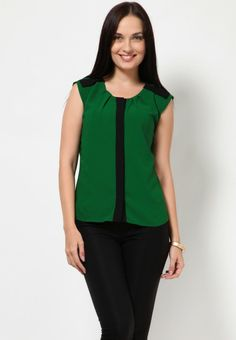 Sleeve Less Pleated Green Top