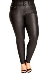 City Chic 'Wetlook Rockit' Skinny Jeans (Plus Size)