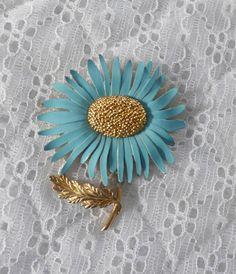 1960's Marvella Sunflower Brooch Enameled Blue by RaindropVintageShop, $16.00