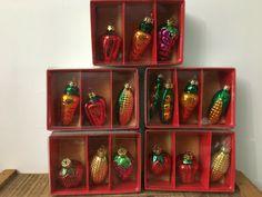 Vintage Fruit Vegetable Glass Ornaments Peas Carrots Grapes Corn #Christmas