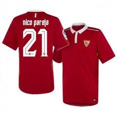 Sevilla FC Away 16-17 Season Red #21 Pareja Soccer Jersey [I210]