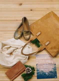 Vintage Gold Loafers, Mojave Accent Tote in Caramel, Jillian Scarf in White, Caramel Wallet, Every Sunrise Print