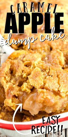Apple Carmel Dump Cake, Apple Dump Cakes, Dump Cake Recipes, Apple Pie Recipes, Apple Desserts, Sweet Recipes, Apple Cake, Carmel Apple Pie Recipe, Apple Pies