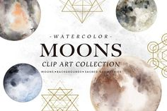 Watercolor Moons + Bonus by Graphic Box on @creativemarket