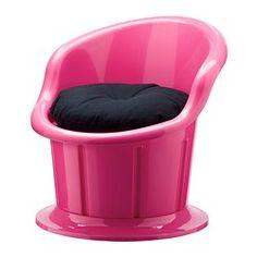 POPPTORP Fauteuil met kussen - roze/zwart - IKEA