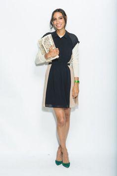 Simple long-sleeve shirt under a sleeveless dress