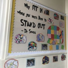Elmer display EYFS Dr Seuss born to stand out Classroom Displays Eyfs, Preschool Displays, Classroom Display Boards, Eyfs Classroom, Classroom Ideas, All About Me Eyfs, All About Me Topic, All About Me Activities, Numeracy Activities