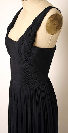 Evening dress, Madame Gres, 1960's, pleated and braided straps