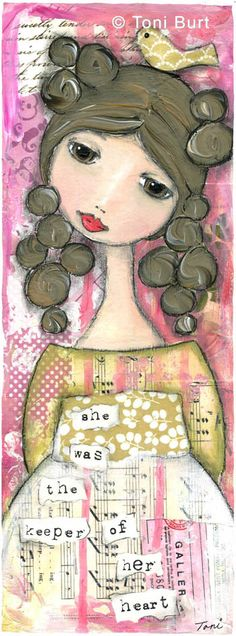 """""""she was the keeper of her heart"""" mixed media girl artwork by Toni Burt.  Vintage papers and wallpaper, oil sticks, acrylic paint."""