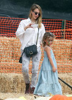 Jessica Alba And Family At Mr. Bones Pumpkin Patch
