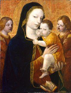 Ambrogio da Fossano detto Bergognone (attivo 1481-1523) | Madonna con il Bambino e due angeli, 1488-1489, tempera su tavola, 37×28cm. 1879 legato Gian Giacomo Poldi Pezzoli | Museo Poldi Pezzoli, Milano.