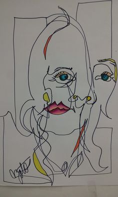 Assignment #7 Blind Contour Drawing of Portrait - Mrs. ZotosArt 1