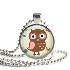 Whimsical Owl Round Glass Pendant Necklace - Pink and Brown Owl - $16.00