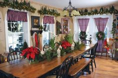 Beautiful country Christmas dining area.....