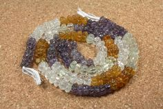 Amethyst, Citrine and Quartz Carved Pumpkin Beads - Orange, Purple and Clear Transparent Beads, 15 inch strand