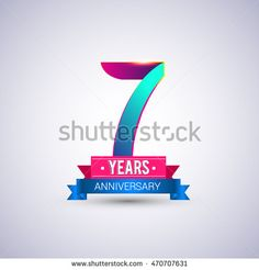 7 years anniversary logo, blue and red colored vector design