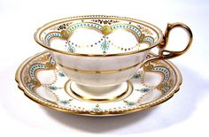 Copeland Enamel Jewelled Cup & Saucer