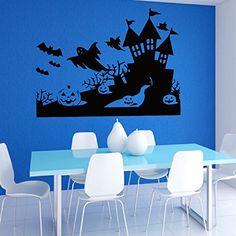 Halloween Pumpkins Night Ghosts Flying Bats Wall Vinyl Decal Sticker Wall Decor Home Interior Design Art Mural Z430 WisdomDecalHouse http://www.amazon.com/dp/B00NM6512G/ref=cm_sw_r_pi_dp_1V.fub0NMC2PB