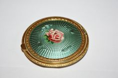 Art Deco Compact Green Guilloche Enamel Rose Powder by patwatty