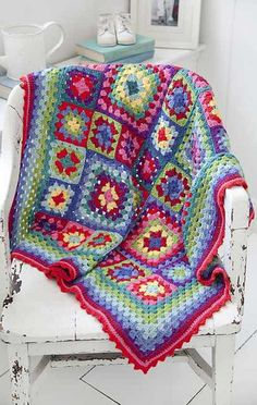 Crochet Pattern: Stunning Granny Squares Blanket In Vibrant Colors
