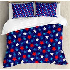 CHASOEA Family Comfort Bed Sheet Navy Blue American Flag Inspired Patriotic Design with The Stars Image Red White Blue Dark Blue, 4 Piece Bedding Sets Duvet Cover Oversized Bedspread, Queen Size Comforter Cover, Duvet Bedding, Bed Duvet Covers, Duvet Cover Sets, Comforter Sets, Bedspread, Pillow Shams, Navy Blue Bedding, Navy Blue Decor