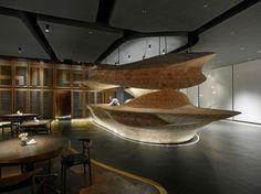 bar en bois massif de design exceptionnel à éclairage intégré