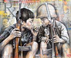 """The Smokes Make the Man"" 2013 26"" x 32"" Acrylic, charcoal & collage on canvas Artist: Aubrey Rhodes  www.aubreyrhodes.com"