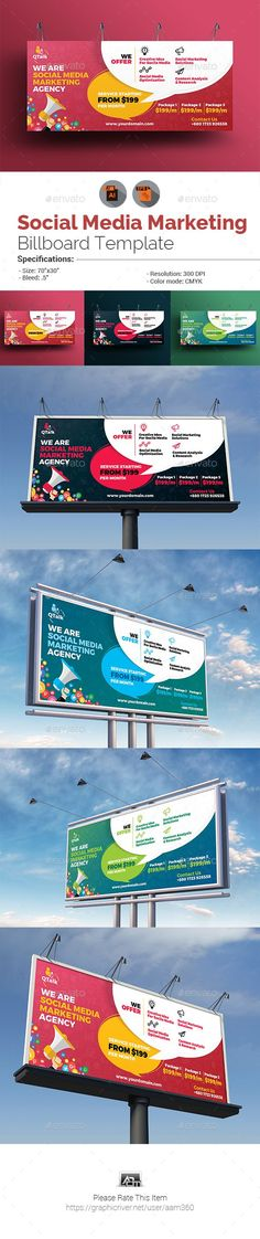 Social Media Marketing Billboard PLEASE NOTE : Sample photos as used on the preview above are NOT INCLUDED in the download. These templates can only be edited in Adobe Illustrator CS5 or later version. So make sure you have this program installed on your system first before deciding to purchase it. You must have a basic or working knowledge of Adobe Illustrator to edit the files.