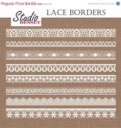 ON SALE White Lace Border Cliparts 8 Lace Borders by StudioDesset, $2.00