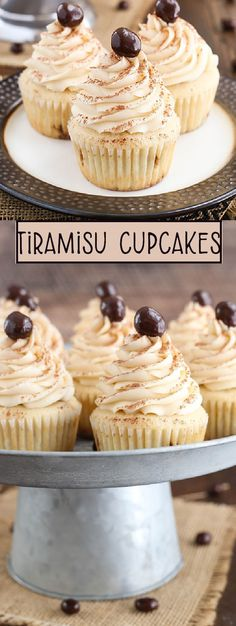 These Tiramisu Cupcakes are tremendous! They are like small individual tiramisu desserts! Each is sprinkled with a Kahlua coffee combination, filled with a filling tiramisu and topped with a light Kahlua mascarpone buttercream. Mini Desserts, Sweet Desserts, Easy Desserts, Sweet Recipes, Delicious Desserts, Plated Desserts, Tiramisu Cupcakes, Tiramisu Dessert, Coffee Cupcakes