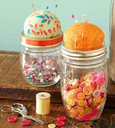 Reuse empty mason jars to make a cute pin cushion (and a storage spot for extra pins).