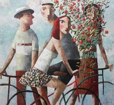 Kai Fine Art is an art website, shows painting and illustration works all over the world. Art Visage, Bicycle Print, Modern Portraits, Spanish Art, Spanish Painters, Funky Art, Art Station, Bike Art, People Art
