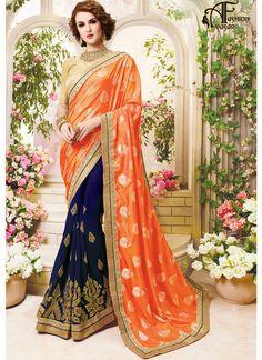 Georgette Stones Lace Embroidery Orange Saree