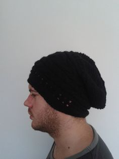 Check out this item in my Etsy shop https://www.etsy.com/listing/192418502/men-black-beanie-hat-men-slouchy-hat-men