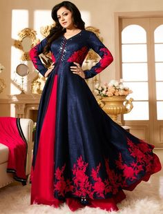 Drashti Dhami Navy Blue and Red Lehenga Kameez