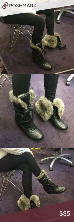 NWOT MICHAEL KORS FAUX FUR WEDGE FOLD OVER BOOTIE MICHAEL KORS FAUX FUR WEDGE FOLD OVER BOOTIE- soft faux fur on the inside of the shaft keeps you very warm! Wear it either folded over or up! KORS Michael Kors Shoes Heeled Boots