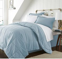 8 Piece Aqua Blue Solid Geometric Square Shape Pattern Comforter Full Set Elegant HighClass Soft  Cozy Reverse Bedding Features EcoFriendly Fully Elasticized Wrinkle Free Neutral Color *** See this great product-affiliate link-affiliate link.