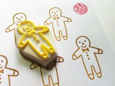 gingerbread man stamp. hand carved rubber stamp. hand carved stamp. biscuit stamp. diy christmas. christmas diy projects. story telling.