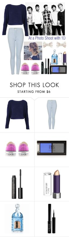 """At a Photo-Shoot with One Direction"" by elise-22 ❤ liked on Polyvore featuring Topshop, Converse, Bare Escentuals, COVERGIRL, Guerlain, Forever New and OneDirection"