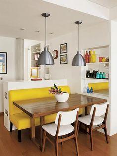 75 идей дизайна столовой: обедаем с удовольствием http://happymodern.ru/osobennosti-dizajjna-stolovojj/ Вариант совмещения столовой и кухни при небольшой квадратуре