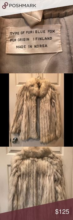 """Fox fur Blue fox fur 30"""" long measured from very to of back. Size 6, silk lining, pockets and 4 hooks to close front. Inherited from someone who took very good care of it for at least 30 years. Very nice condition. With minor spot and small stitch problem inside near arm pit. Jackets & Coats"""