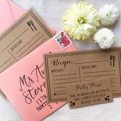 FREE bridal shower recipe cards up on the blog today! Bonus printable insert asking your guests to pretty please share their favorite recipe with the bride-to-be #hadleydesigns #bridalshower #bridalshowerideas #customstationery