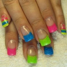 53 Trendy nails design summer acrylic bright colors neon french tips Neon Nail Art, Neon Nails, Love Nails, Neon Nail Designs, Fingernail Designs, Nails Design, French Nail Art, Bright Nails, Sparkle